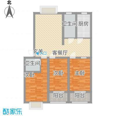 普兰银河花园124.00㎡9号楼标准层阔居户型3室2厅2卫1厨