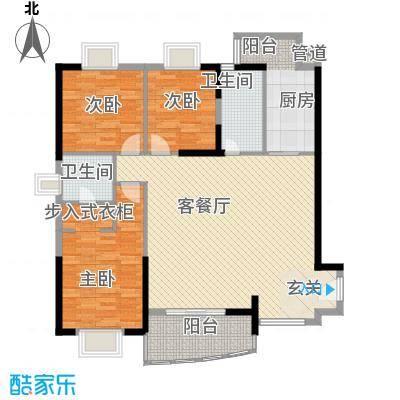 富丽达花园137.65㎡2、3栋06户型3室2厅2卫1厨