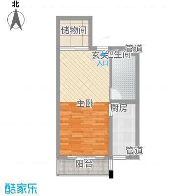 新天地购物城58.63㎡彩虹之家户型1室1厅1卫1厨