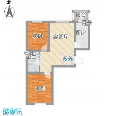 金美程家园73.00㎡D4户型2室1厅1卫