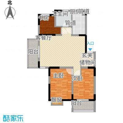 蓝月河谷11.00㎡第一期第三栋B户型3室2厅1卫1厨