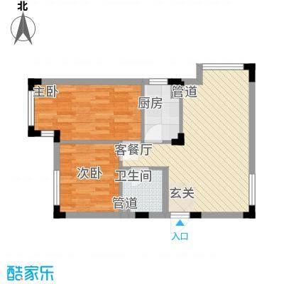 万科兰乔公寓66.20㎡F户型2室2厅1卫