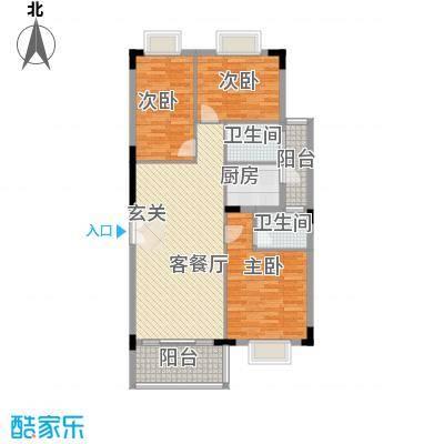 岭南雅苑114.53㎡4、5、6、7单元1号户型3室2厅2卫