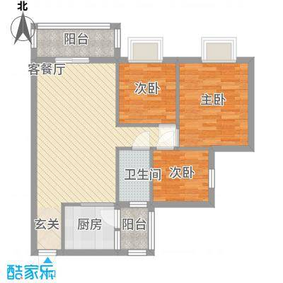 朗城家园88.00㎡户型3室