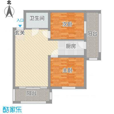 睿城臻品53.43㎡F户型2室2厅1卫1厨
