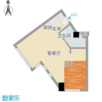 壹克拉公馆61.13㎡F户型1室1厅1卫