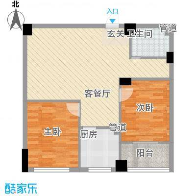 苏杭花园88.82㎡17#-B户型2室2厅1卫1厨