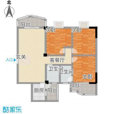 水岸绿苑户型3室2厅2卫1厨