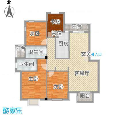 银凤晓月户型4室2厅1卫1厨