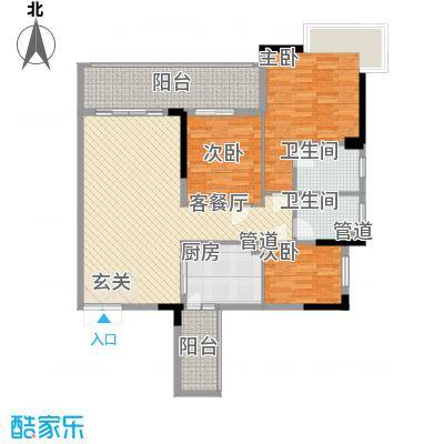 东方华府121.70㎡9栋标准层F1户型3室2厅2卫1厨