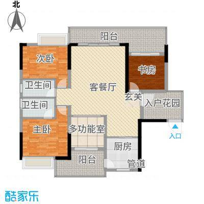 卧龙传说134.00㎡B2户型3室2厅2卫1厨