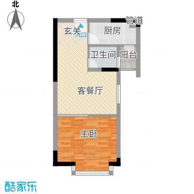 金田风华苑56.86㎡商务办公型户型1室1厅