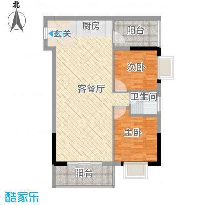 海志公园道一号74.00㎡户型2室2厅1卫