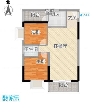 海志公园道一号74.80㎡户型2室2厅1卫