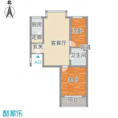 博泰公寓户型2室2厅1卫1厨