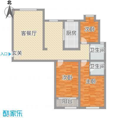 天成一品134.40㎡1号楼三居户型3室2厅2卫1厨