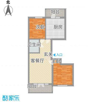 学院新城75.80㎡二期高层F户型2室2厅1卫1厨
