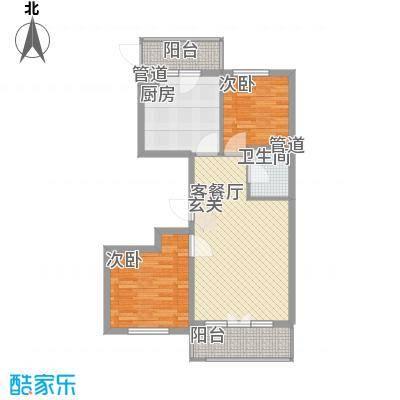 学院新城73.86㎡高层G户型2室2厅1卫1厨