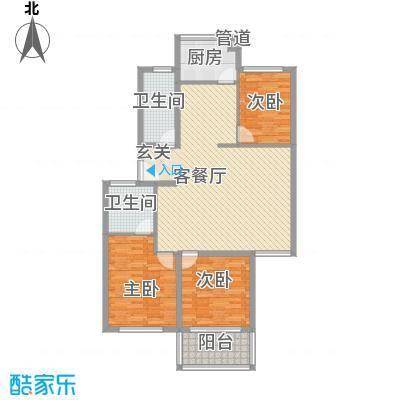 望春桂花苑115.00㎡2号楼05套型户型3室2厅2卫