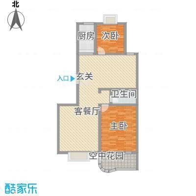 现代逸城124.85㎡15/16号楼2/3单元奇层户型2室2厅1卫1厨