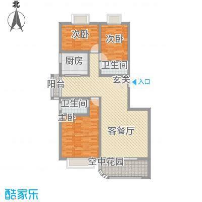 现代逸城143.11㎡10号楼1/3单元偶数层户型3室2厅2卫1厨