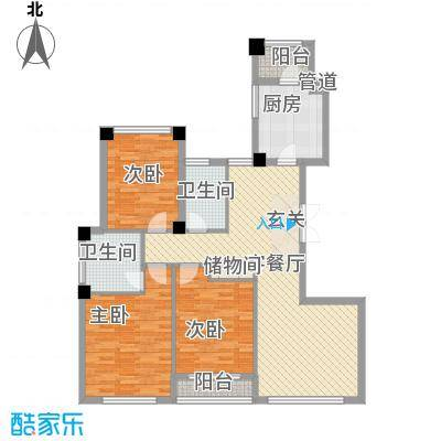 金港花园135.00㎡户型2室1厅1卫1厨