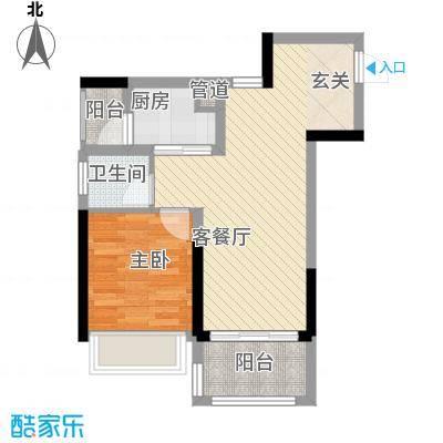 新园华府55.00㎡户型1室2厅1卫