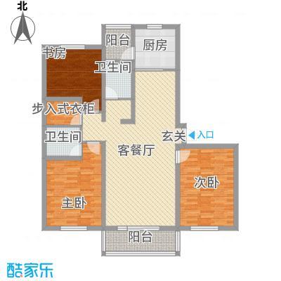 水岸华庭154.71㎡1#户型3室2厅2卫