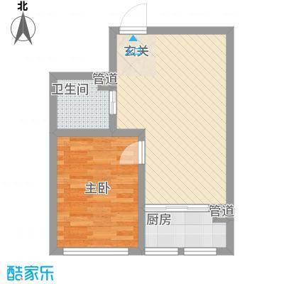 明湖天地E座3单3-14层1居室户型1室2厅1卫1厨
