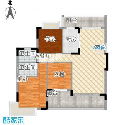 城市花园宝富阁4户型3室2厅2卫1厨