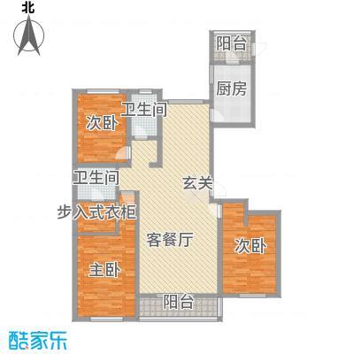 水岸华庭16.80㎡户型3室2厅2卫