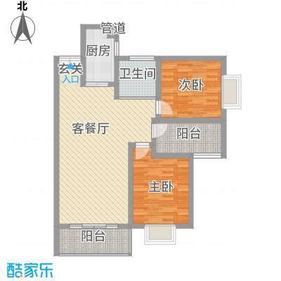 百润・湖滨杰座17.00㎡C2户型2室2厅1卫