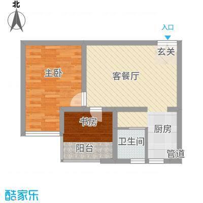 百润・湖滨杰座63.00㎡B户型1室2厅1卫