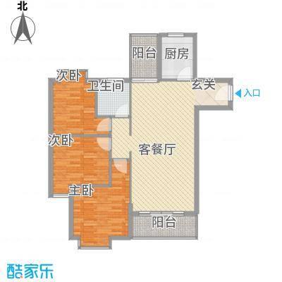 惠丰城14.62㎡E户型3室2厅1卫1厨