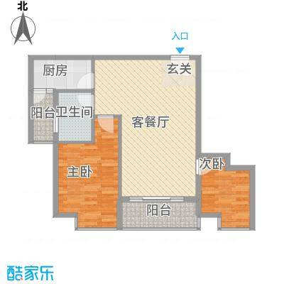惠丰城78.70㎡F户型2室2厅1卫1厨