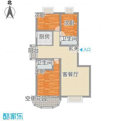 现代逸城143.11㎡10号楼1/3单元奇数层户型3室2厅2卫1厨