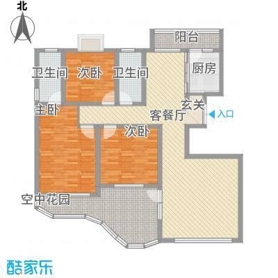 现代逸城161.40㎡11/12号楼1/2单元偶数层户型3室2厅2卫1厨