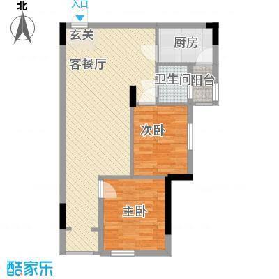 锦江钻石LIFE71.60㎡B栋B9户型2室2厅1卫