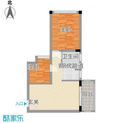 锦江钻石LIFE65.20㎡A栋A2户型2室2厅1卫
