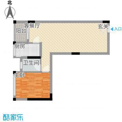锦江钻石LIFE68.10㎡A栋A7户型1室2厅1卫