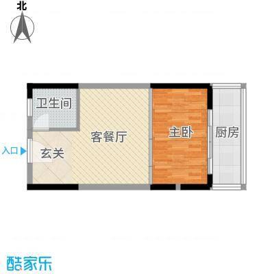 香缤公寓57.34㎡A户型1室1厅1卫