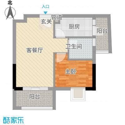盛天龙湾55.00㎡20号公馆-08、09、12、13户型1室2厅1卫1厨
