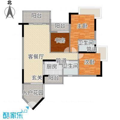 盛天龙湾125.35㎡精品3户型3室2厅2卫1厨
