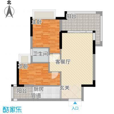 丰泰旗山绿洲84.00㎡3栋标准层1、2单元02户型2室2厅1卫1厨