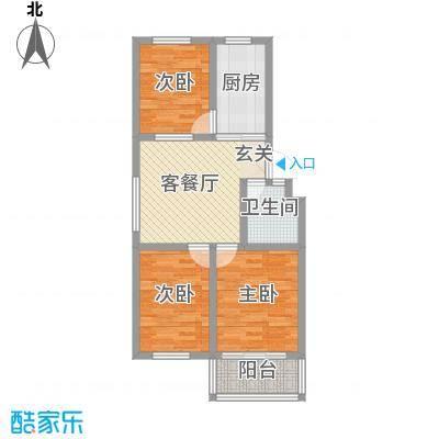 卧龙新区77.00㎡户型3室