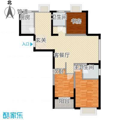 莱茵小镇124.00㎡高层7#-01户型3室2厅2卫1厨