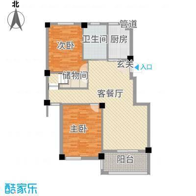 君悦龙庭135.00㎡B跃层一层户型2室2厅1卫1厨