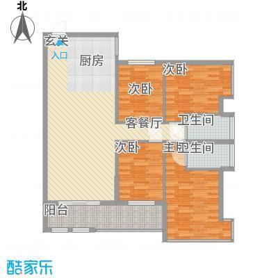 昌厦・御座134.38㎡B户型3室2厅2卫1厨