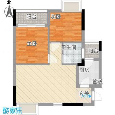 月半弯二期曦悦62.54㎡一、二栋2单元04户型2室2厅1卫