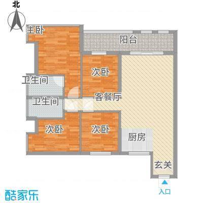 昌厦・御座124.54㎡D户型3室2厅2卫1厨
